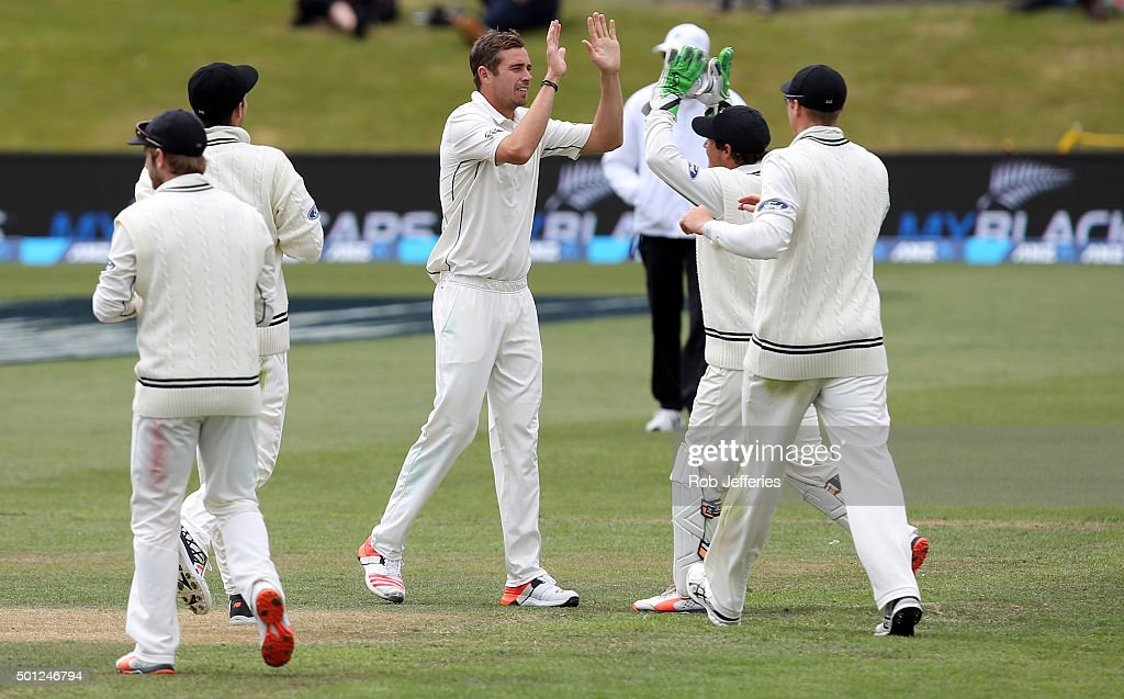 Tim Southee of New Zealand celebrates taking the wicket of Kithuruwan Vithanage of Sri Lanka during day five of the First Test match between New...