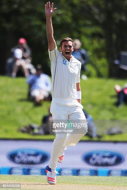 Tim Southee of New Zealand celebrates the wicket of Sohail Khan of Pakistan during day four of the First Test between New Zealand and Pakistan at...