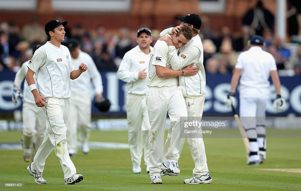 <a gi-track='captionPersonalityLinkClicked' href=/galleries/search?phrase=Tim+Southee&family=editorial&specificpeople=4205733 ng-click='$event.stopPropagation()'>Tim Southee</a> of New Zealand celebrates with <a gi-track='captionPersonalityLinkClicked' href=/galleries/search?phrase=Bruce+Martin&family=editorial&specificpeople=226565 ng-click='$event.stopPropagation()'>Bruce Martin</a> after catching out Jonathan Bairstow of England during day two of 1st Investec Test match between England and New Zealand at Lord's Cricket Ground on May 17, 2013 in London, England.