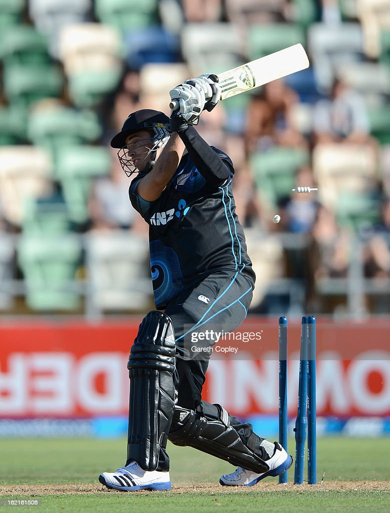 Tim Southee of New Zealand is bowled by Chris Woakes of England during the second match of the international Twenty20 series between New Zealand and England at McLean Park on February 20, 2013 in Napier, New Zealand.