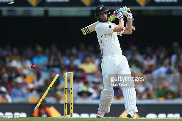 Tim Southee of New Zealand is bowled by Mitchell Starc of Australia during day three of the First Test match between Australia and New Zealand at The...