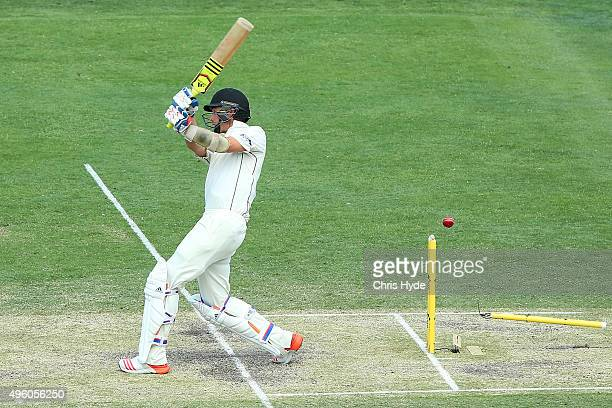 Tim Southee of New Zealand is bowled out by Mitchell Starc of Australia during day three of the First Test match between Australia and New Zealand at...