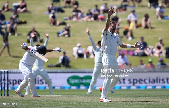 Tim Southee of New Zealand is unsuccessful in an appeal for the wicket of Sri Lanka's Dimuth Karunaratne during day one of the International Test...