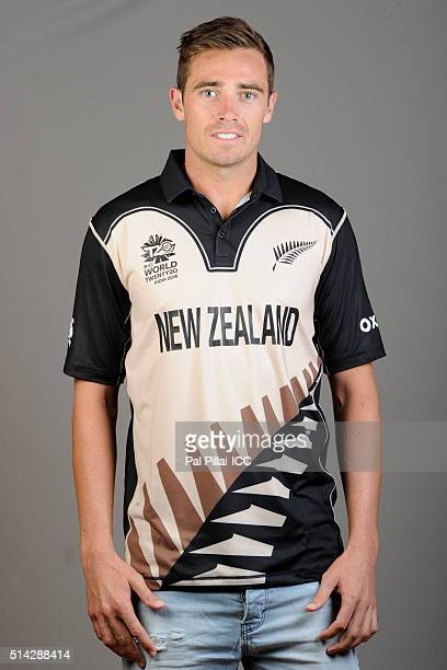 Tim Southee of New Zealand poses during the official photocall for the ICC Twenty20 World on March 8 2016 in Mumbai India