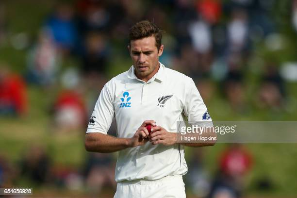 Tim Southee of New Zealand prepares to bowl during day three of the test match between New Zealand and South Africa at Basin Reserve on March 18 2017...