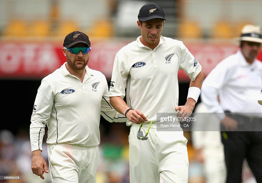 <a gi-track='captionPersonalityLinkClicked' href=/galleries/search?phrase=Tim+Southee&family=editorial&specificpeople=4205733 ng-click='$event.stopPropagation()'>Tim Southee</a> of New Zealand speaks to <a gi-track='captionPersonalityLinkClicked' href=/galleries/search?phrase=Brendon+McCullum&family=editorial&specificpeople=208154 ng-click='$event.stopPropagation()'>Brendon McCullum</a> of New Zealand as he leaves the ground with an injury during day two of the First Test match between Australia and New Zealand at The Gabba on November 6, 2015 in Brisbane, Australia.
