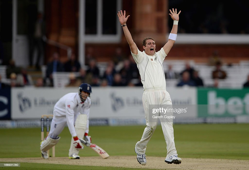 <a gi-track='captionPersonalityLinkClicked' href=/galleries/search?phrase=Tim+Southee&family=editorial&specificpeople=4205733 ng-click='$event.stopPropagation()'>Tim Southee</a> of New Zealand successfully appeals for the wicket of Steven Finn of England during day two of 1st Investec Test match between England and New Zealand at Lord's Cricket Ground on May 17, 2013 in London, England.