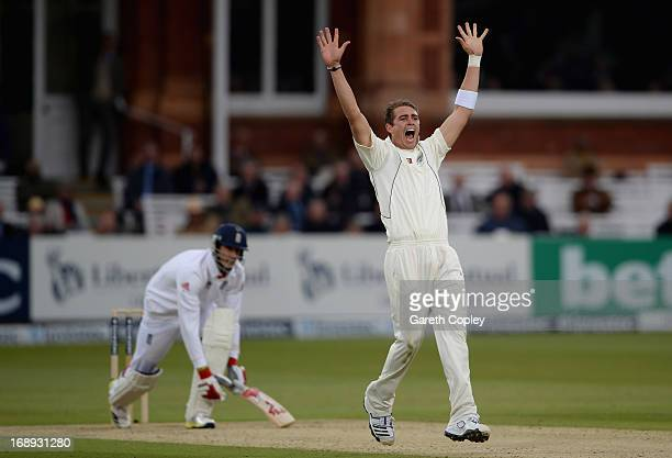 Tim Southee of New Zealand successfully appeals for the wicket of Steven Finn of England during day two of 1st Investec Test match between England...