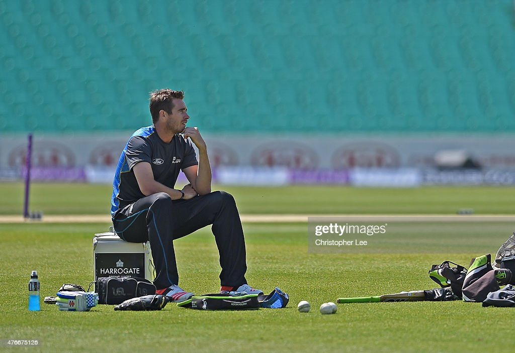 Tim Southee takes a break from bowling during the New Zealand Nets Session at The Kia Oval on June 11, 2015 in London, England.