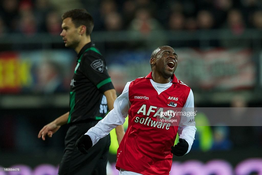 Tim Sparv of FC Groningen, Willie Overtoom of AZ during the Dutch Eredivisie match between AZ Alkmaar and FC Groningen at the AFAS Stadium on february 2, 2013 in Alkmaar, The Netherlands