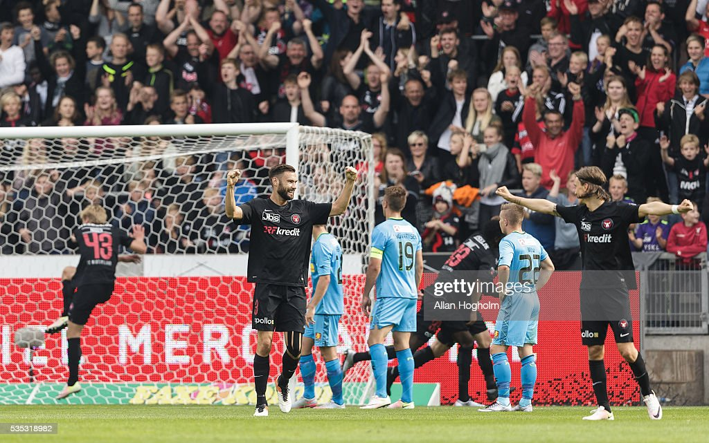 Tim Sparv of FC Midtjylland celebrates after scoring their second goal during the Danish Alka Superliga match between FC Midtjylland and FC Nordsjalland at MCH Arena on May 29, 2016 in Herning, Denmark.