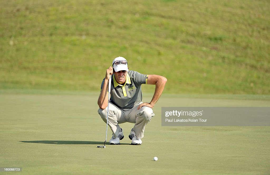 Tim Stewart of Australia lines up a shot during round four of the Asian Tour Qualifying School Final Stage at Springfield Royal Country Club on January 26, 2013 in Hua Hin, Thailand.