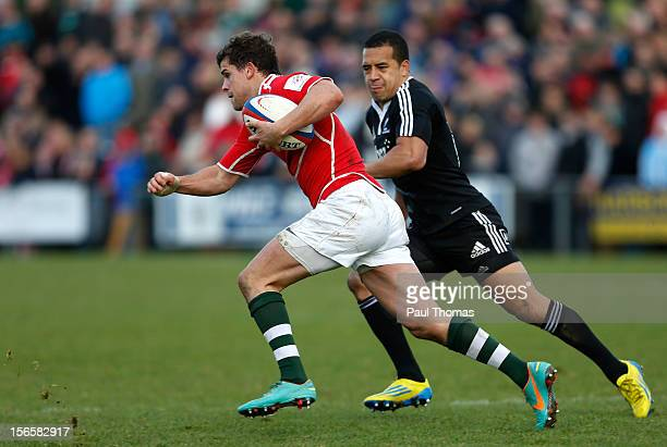 Tim Streather of the RFU Championship XV in action with Willie Ripia of New Zealand Maori All Blacks during the RFU Championship XV and New Zealand...