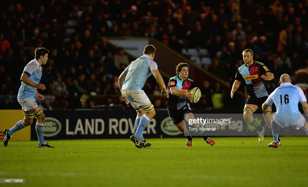 Tim Swiel of Harlequins charges forward during the Aviva Premiership match between Harlequins and Newcastle Falcons at the Twickenham Stoop on December 20, 2014 in London, England.