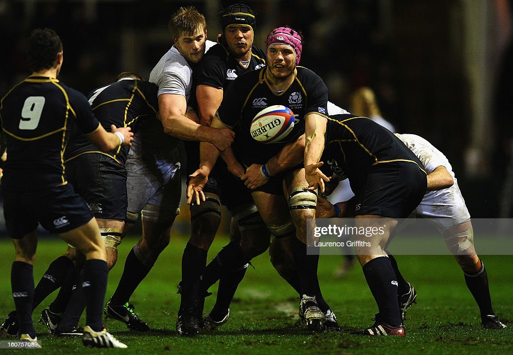 Tim Swinson of Scotland in action during the International Friendly match between England Saxons and Scotland A at Kingston Park on February 1, 2013 in Newcastle upon Tyne, England.