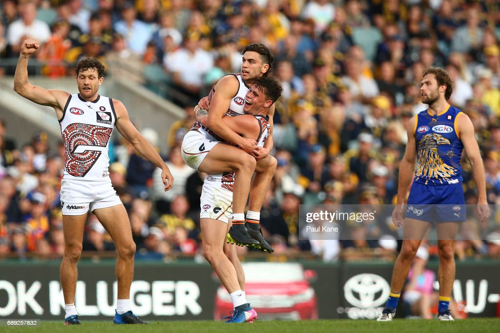 Tim Taranto and Zac Williams of the Giants celebrates a goal during the round 10 AFL match between the West Coast Eagles and the Greater Western Giants at Domain Stadium on May 28, 2017 in Perth, Australia.