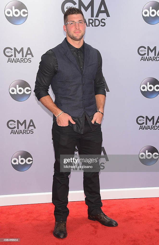 Tim Tebow attends the 48th annual CMA Awards at the Bridgestone Arena on November 5, 2014 in Nashville, Tennessee.