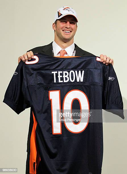 Tim Tebow is introduced by the Denver Broncos at a press conference at the Broncos Headquarters in Dove Valley on April 23 2010 in Englewood Colorado...