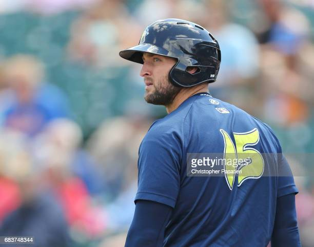 Tim Tebow of the Columbia Fireflies looks on from the ondeck circle as he waits to bat in the top of the sixth inning against the Lakewood BlueClaws...