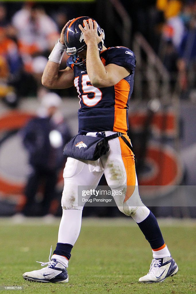 <a gi-track='captionPersonalityLinkClicked' href=/galleries/search?phrase=Tim+Tebow&family=editorial&specificpeople=2729658 ng-click='$event.stopPropagation()'>Tim Tebow</a> #15 of the Denver Broncos reacts after Willis McGahee #23 (not pictured) fumbled the ball in the fourth quarter against the Pittsburgh Steelers during the AFC Wild Card Playoff game at Sports Authority Field at Mile High on January 8, 2012 in Denver, Colorado.