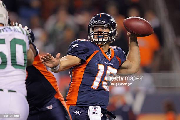 Tim Tebow of the Denver Broncos throws a pass against the New York Jets at Invesco Field at Mile High on November 17 2011 in Denver Colorado