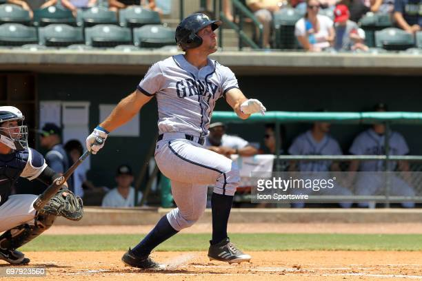 Tim Tebow of the Fireflies at bat during the minor league game between the Columbia Fireflies and the Charleston RiverDogs on June 18 2017 at ATT...