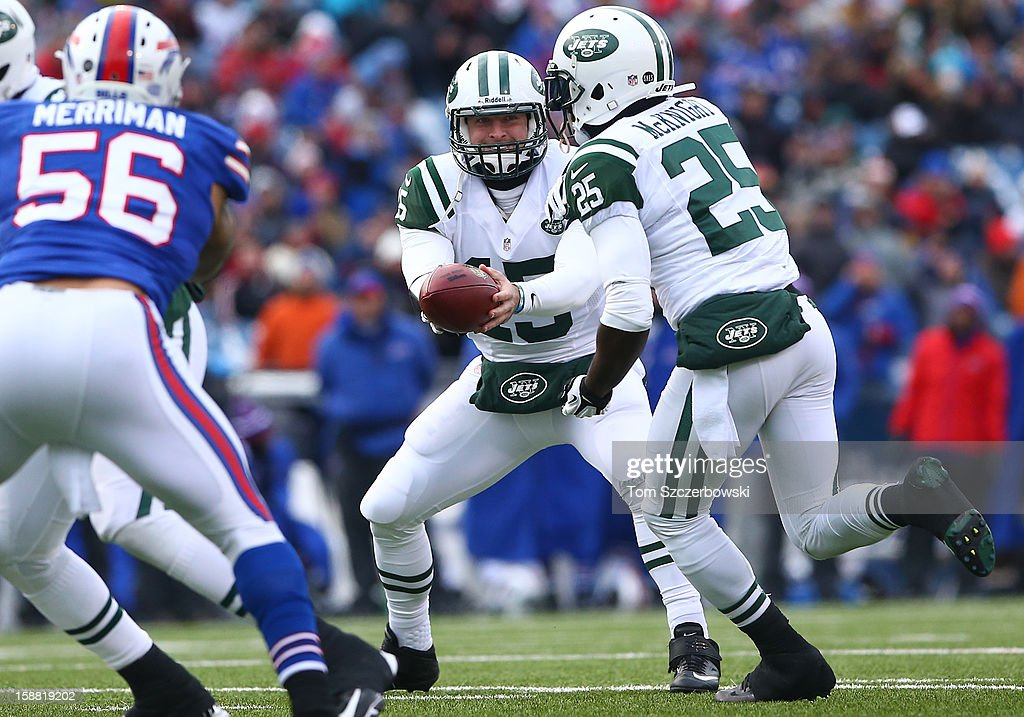 Tim Tebow #15 of the New York Jets hands the ball off to Joe McKnight #25 during an NFL game against the Buffalo Bills at Ralph Wilson Stadium on December 30, 2012 in Orchard Park, New York.