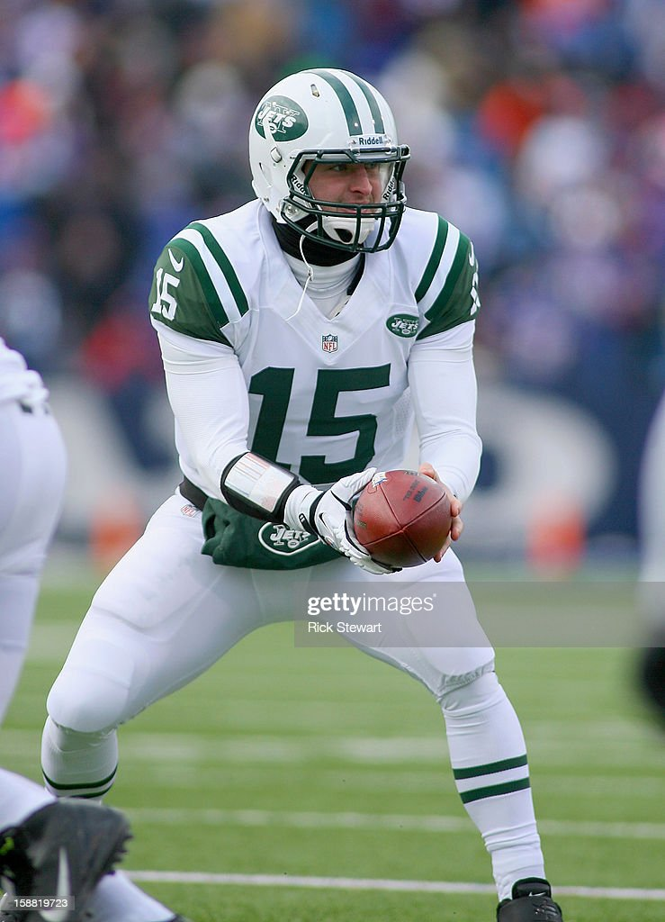 Tim Tebow #15 of the New York Jets takes his only snap against the Buffalo Bills at Ralph Wilson Stadium on December 30, 2012 in Orchard Park, New York. Buffalo won 28-9.