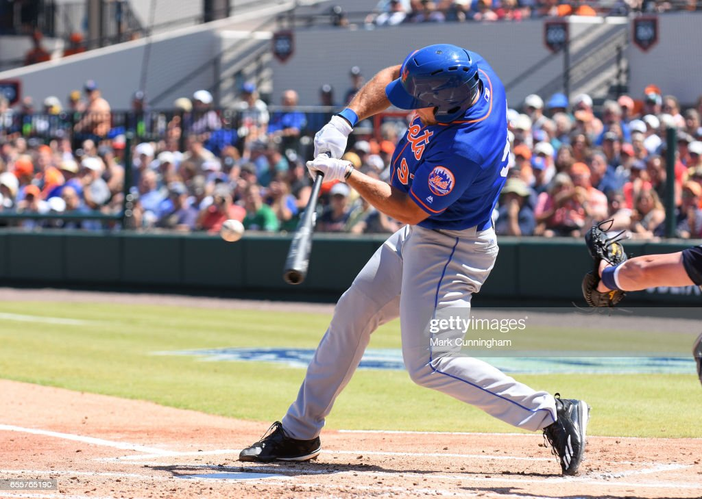 Tim Tebow #97 of the New York Mets bats during the Spring Training game against the Detroit Tigers at Publix Field at Joker Marchant Stadium on March 20, 2017 in Lakeland, Florida. The Tigers defeated the Mets 5-1.