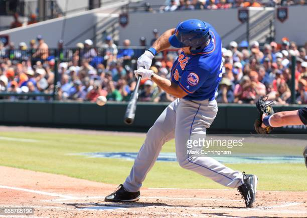 Tim Tebow of the New York Mets bats during the Spring Training game against the Detroit Tigers at Publix Field at Joker Marchant Stadium on March 20...
