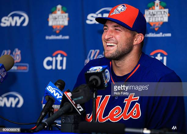 Tim Tebow of the New York Mets speaks at a press conference after a work out at an instructional league day at Tradition Field on September 20 2016...