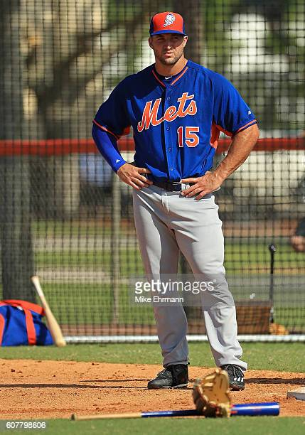 Tim Tebow of the New York Mets works out at an instructional league day at Tradition Field on September 19 2016 in Port St Lucie Florida
