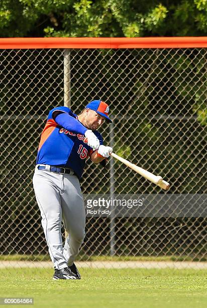 Tim Tebow of the New York Mets works out at an instructional league day at Tradition Field on September 20 2016 in Port St Lucie Florida