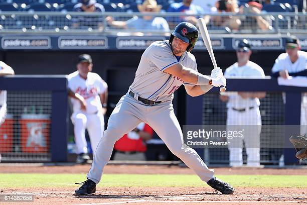 Tim Tebow of the Scottsdale Scorpions bats against the Peoria Javelinas during the Arizona Fall League game at Peoria Stadium on October 13 2016 in...