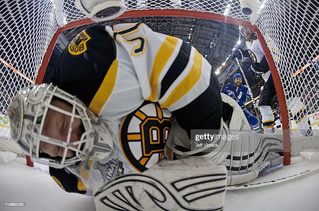 Tim Thomas #30 of the Boston Bruins watches <a gi-track='captionPersonalityLinkClicked' href=/galleries/search?phrase=Maxim+Lapierre&family=editorial&specificpeople=718385 ng-click='$event.stopPropagation()'>Maxim Lapierre</a> #40 of the Vancouver Canucks shots get past him in the third period. during Game Five of the 2011 NHL Stanley Cup Finals at Rogers Arena on June 10, 2011 in Vancouver, British Columbia, Canada.