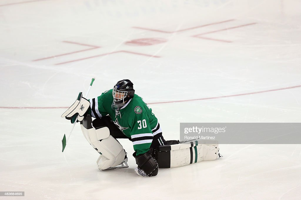 Tim Thomas #30 of the Dallas Stars stretches at American Airlines Center on April 9, 2014 in Dallas, Texas.