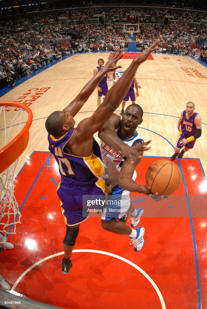 Tim Thomas #2 of the Los Angeles Clippers has his shot contested by Andrew Bynum #17 of the Los Angeles Lakers at Staples Center on October 29, 2008 in Los Angeles, California.