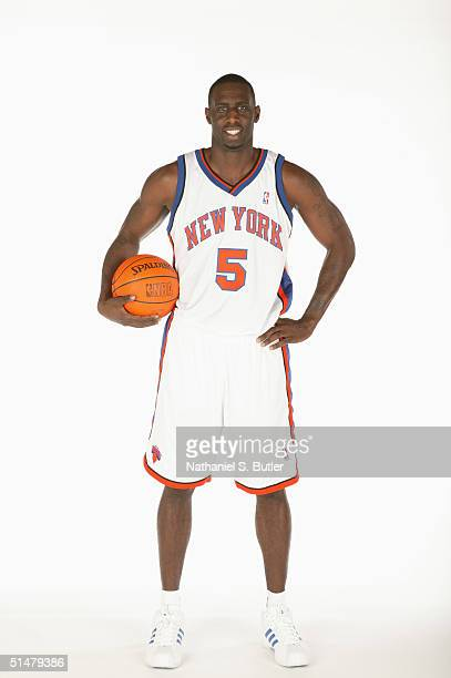 Tim Thomas of the New York Knicks poses for a portrait during NBA Media Day on October 4 2004 in New York City New York NOTE TO USER User expressly...