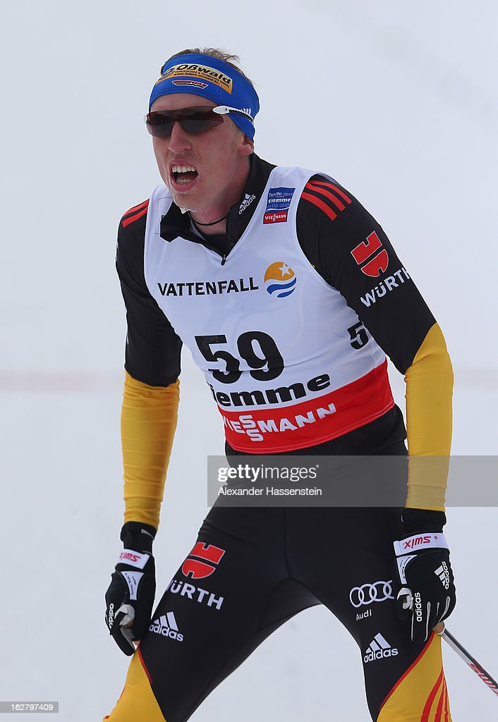 Tim Tscharnke of Germany crosses the line during the Men's Cross Country Individual 15km at the FIS Nordic World Ski Championships on February 27, 2013 in Val di Fiemme, Italy.
