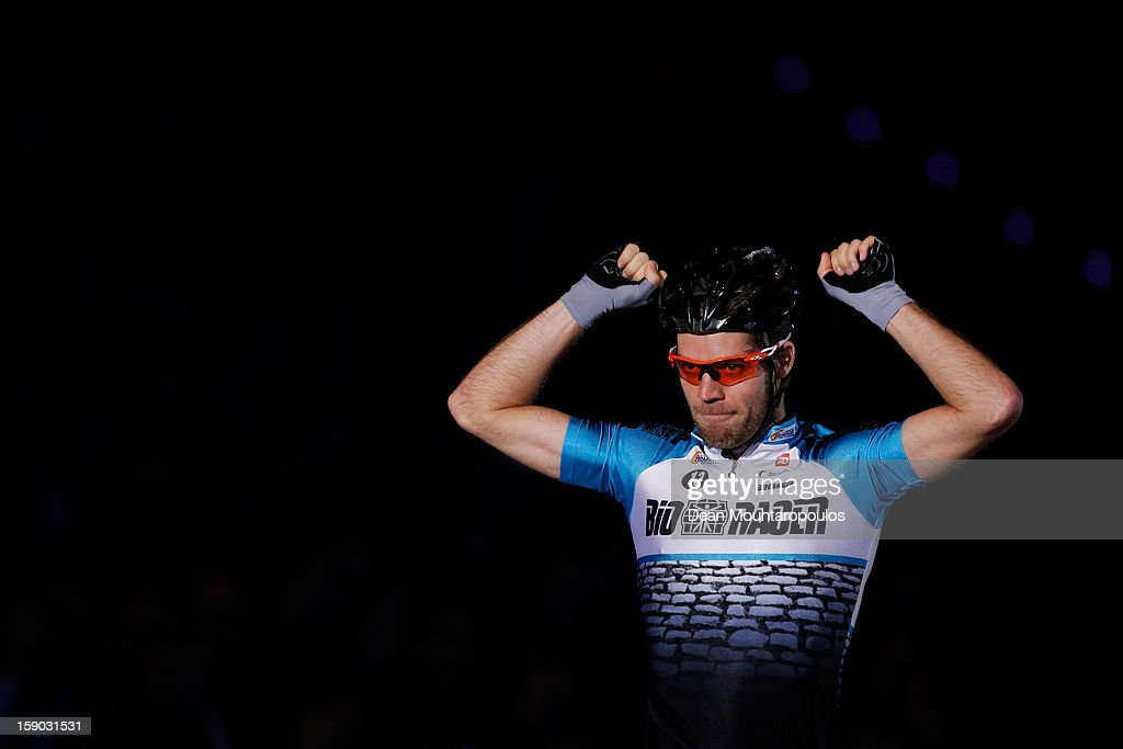 Tim Veldt of Netherlands celebrates winning the Time Trial during the Rotterdam 6 Day Cycling at Ahoy Rotterdam on January 4, 2013 in Rotterdam, Netherlands. He rode with Bobbie Traksel.