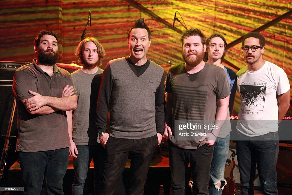 Tim Very, Jonathan Corley, Host Mark Hoppus, Andy Hull, Robert McDowell and Chris Freeman of Manchester Orchestra pose for photos during a taping of 'Hoppus on Music' at fuse Studios on August 4, 2011 in New York City.