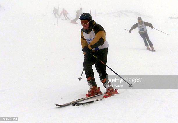 Tim Vickers competing in the Crater to Lake endurance race comes out of the gloom on his skis as the compeditors head towards the eventual finish in...