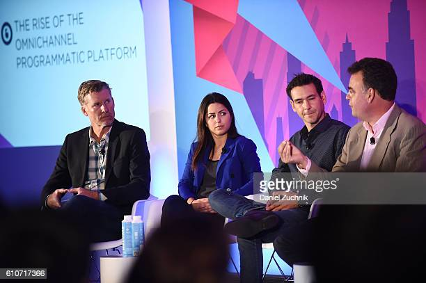 Tim Waddell Stephanie Senna Yannis Dosios and John Snyder speak onstage at the The Rise of the Omnichannel Programmatic Platform on the ADARA Stage...