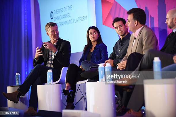 Tim Waddell Stephanie Senna Yannis Dosios John Snyder and Mike Romoff speak onstage at the The Rise of the Omnichannel Programmatic Platform on the...