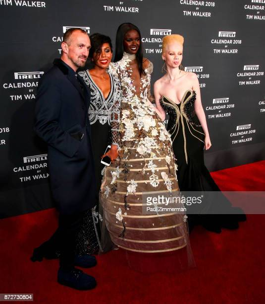 Tim Walker Jaha Dukureh Duckie Thot and Thando Hopa attend Pirelli Calendar 2018 Launch Gala at The Manhattan Center on November 10 2017 in New York...