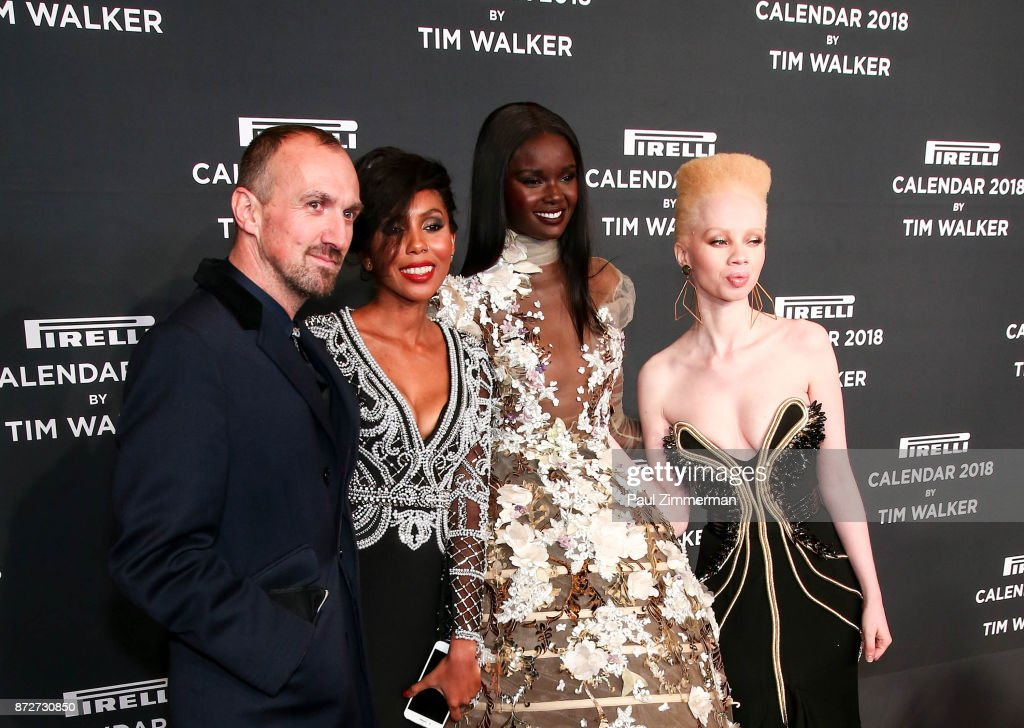 Tim Walker, Jaha Dukureh, Duckie Thot and Thando Hopa attend Pirelli Calendar 2018 Launch Gala at The Manhattan Center on November 10, 2017 in New York City.