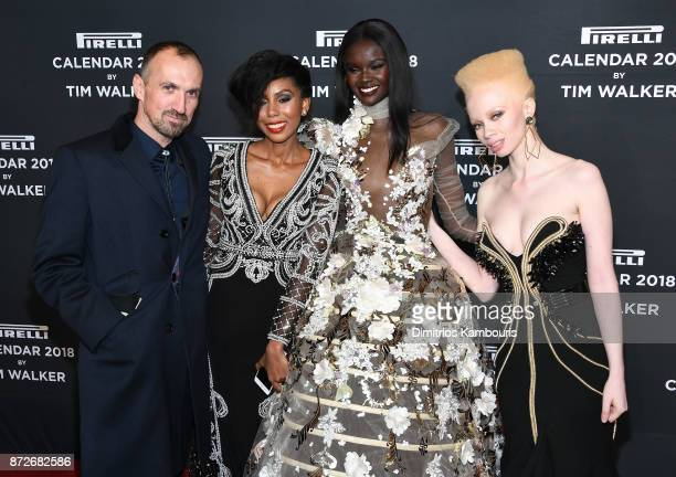 Tim Walker Jaha Dukureh Duckie Thot and Thando Hopa attend the 2018 Pirelli Calendar Launch Gala at The Pierre Hotel on November 10 2017 in New York...