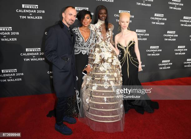 Tim Walker Jaha Dukureh Duckie Thot and Thando Hopa attend the 2018 Pirelli Calendar Launch Gala at Manhattan Center on November 10 2017 in New York...