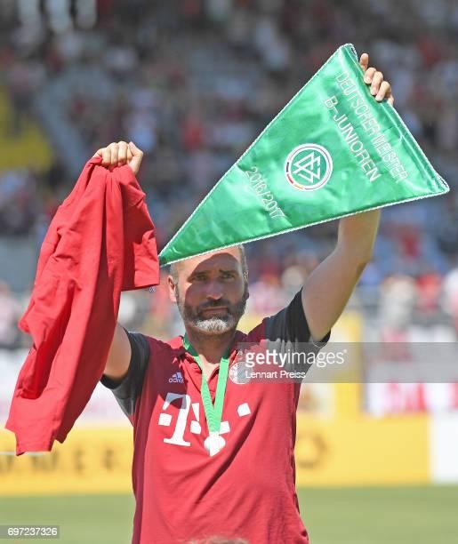 Tim Walter head coach of FC Bayern Muenchen celebrates winning the B Juniors German Championship Final against SV Werder Bremen at Stadion an der...