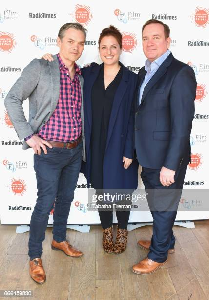 Tim Watson Louiza Patikas and Sean O'Connor attend the BFI Radio Times TV Festival at BFI Southbank on April 9 2017 in London England